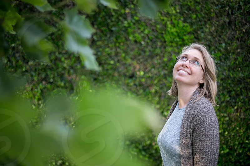 A woman enjoys her garden photo