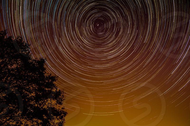 Star Trails Heavens Symmetry. photo