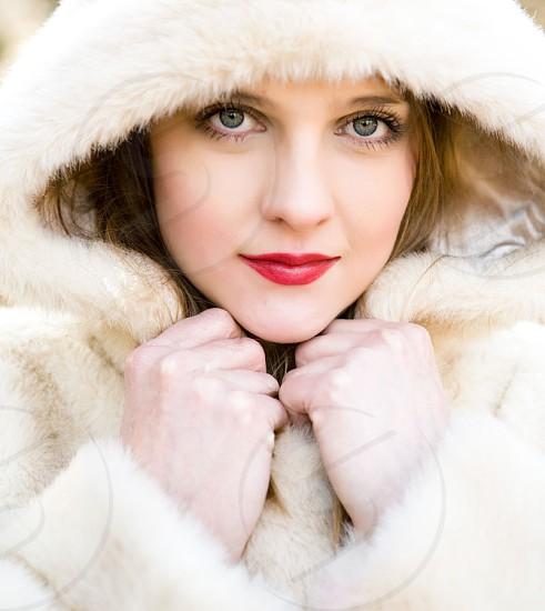 beautymodelfaceportaitlipsticklipsblueeyesbeautifulyoungwomanhoodiefacemake-upeyelashes photo