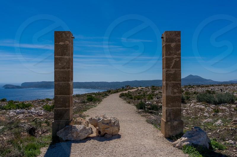 Javea mountain path Spain blue sky  photo