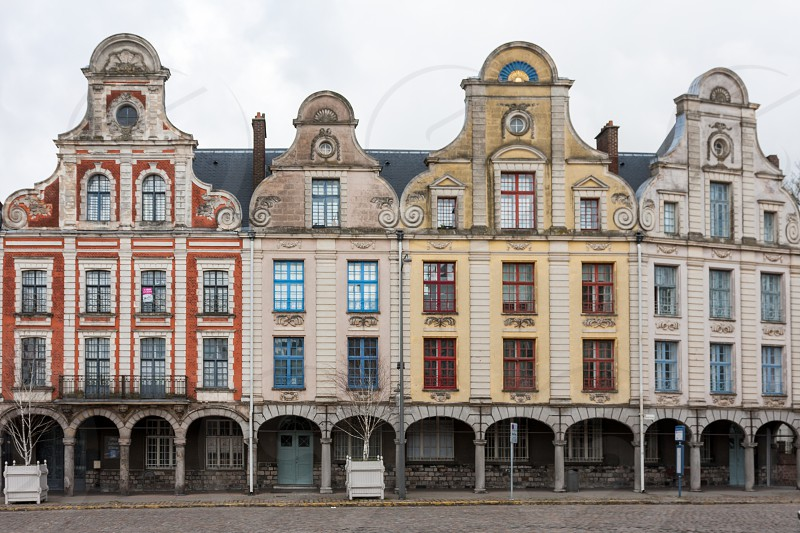 Typical houses from a beautiful city in the North of France : Arras. The photo was taken from the main square : place des Héros. photo
