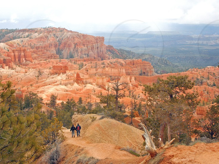 Hikers heading down a trail into Bryce Canyon National Park. photo