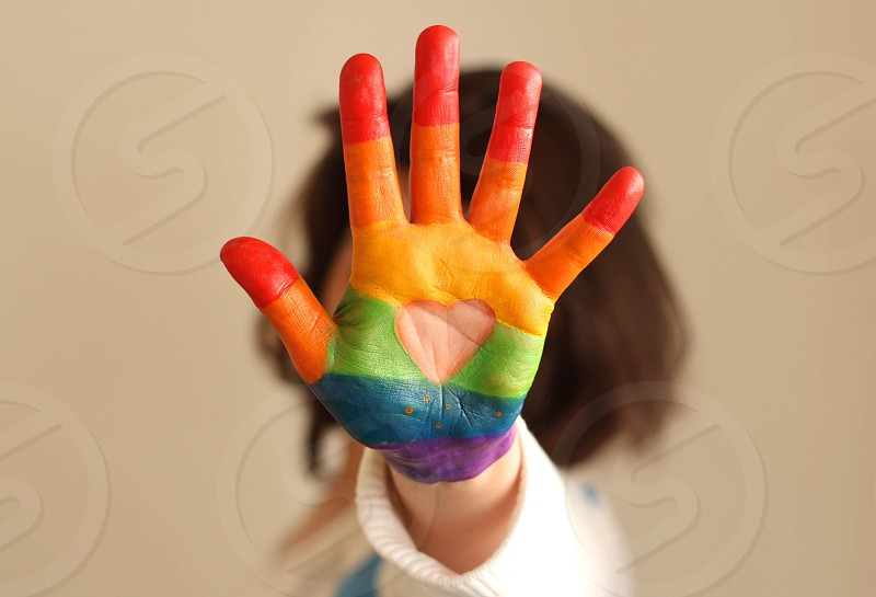 Pride rainbow colors painted hand 5 photo