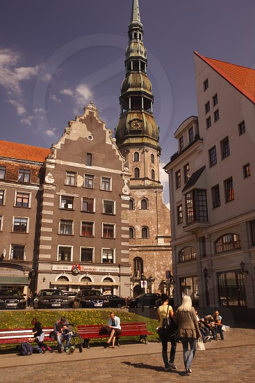 the house of the blackheads in the city of riga in latvia in the baltic region in europe. photo