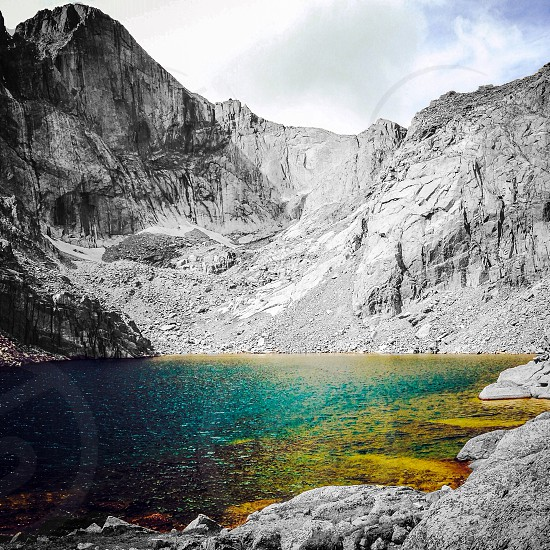Chasm Lake on looking Longs Peak and its famous 'Diamond' wall. photo