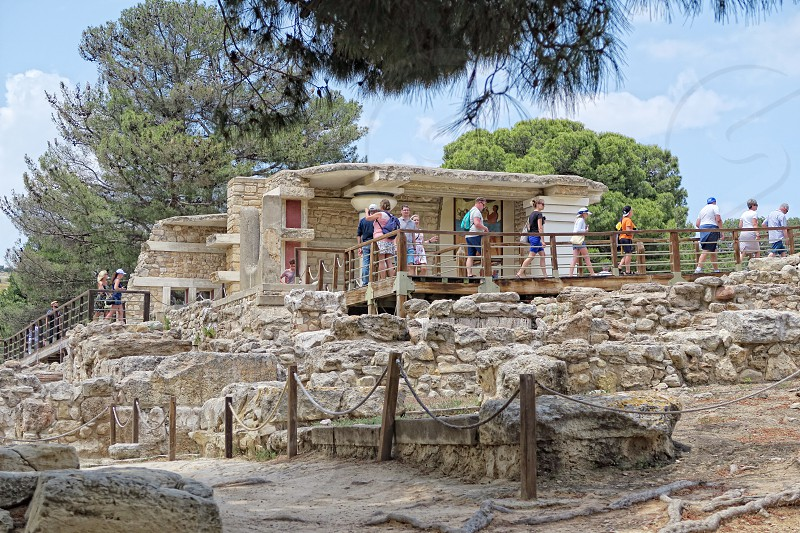 Knossos on Crete. People visiting knossos. photo