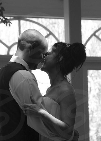 Wedding bride groom couple black and white profile happy love photo