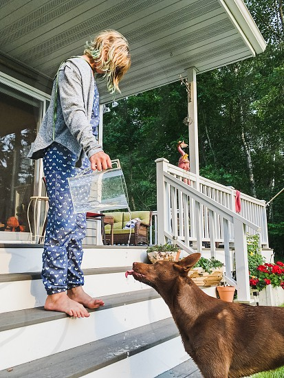 A young girl pouring a water to a thirsty dog at a porch of a countryside cottage. photo