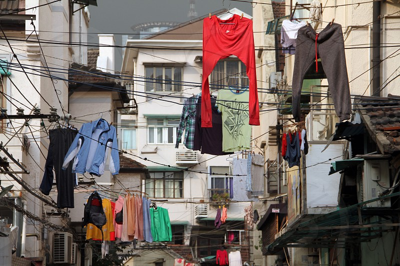 Laundry day in a Shanghai old street. photo
