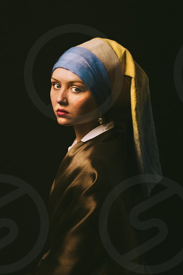 Photographic rendition of Vermeer's Girl with the Pearl Earring painting photo