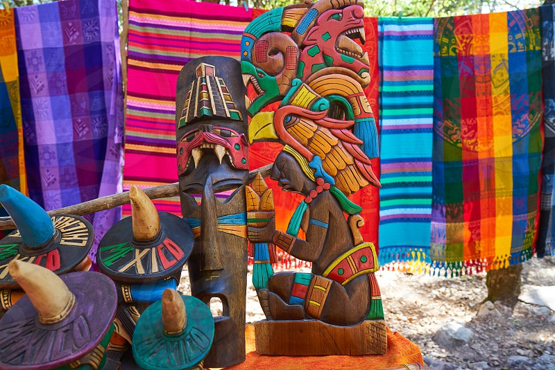 Chichen itza Mayan handcrafts and serapes in Yucatan Mexico photo