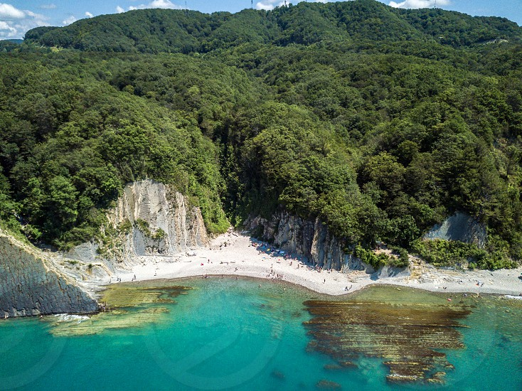 Kiselev Rock. Forest Kadosh. Aerial picturesque view on coastline. Tuapse. Russia. photo