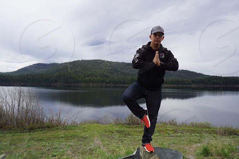 Road trip fitness 32 hour drive Montana yoga pose  photo