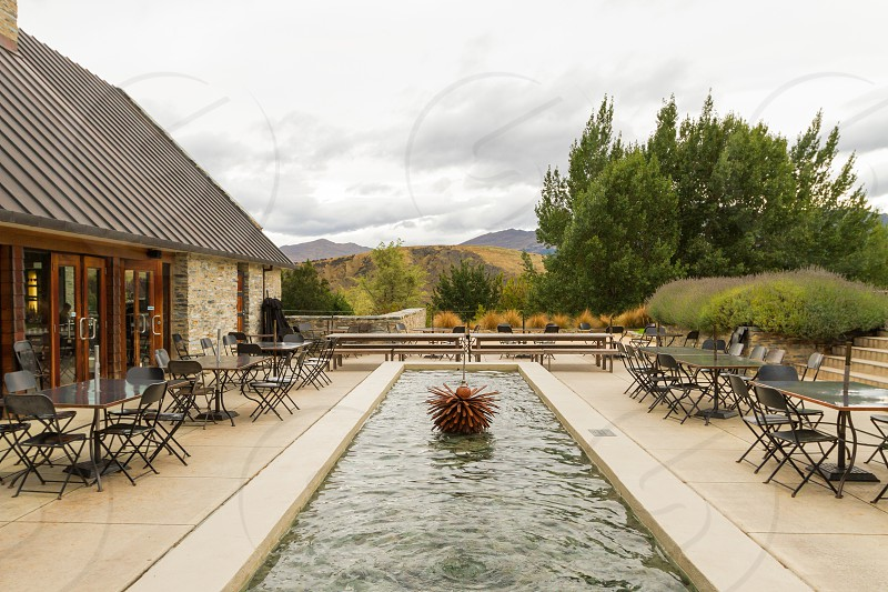 Amisfield Winery and Restaurant patio and fountain.  Arrowtown/Queenstown New Zealand.  Exterior and food images available. photo