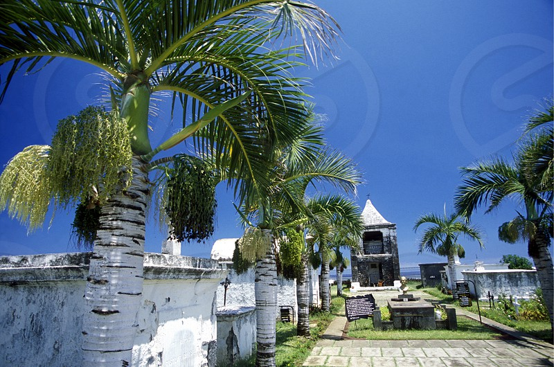 the Cimetiere Marin of  the Town St. Paul on the Island of La Reunion in the Indian Ocean in Africa. photo