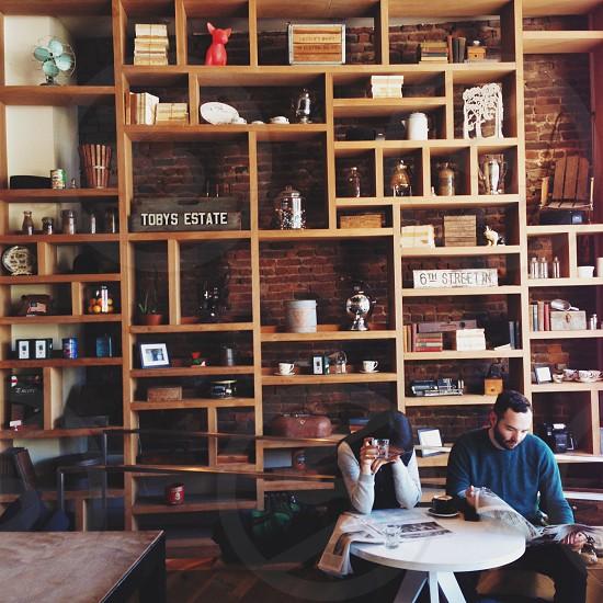 brown wooden shelves photo
