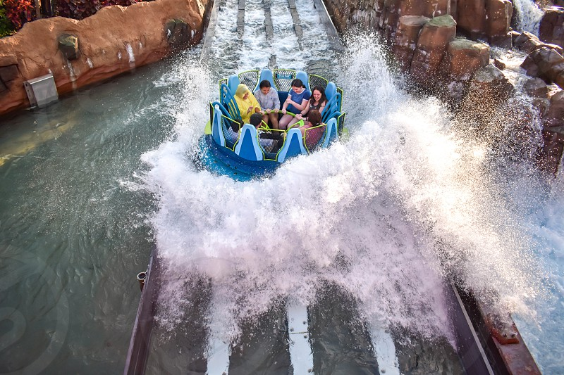 Orlando Florida. January 19 2019. People having fun river attraction ride Infinity Falls at Seaworld Marine Theme Park (4) photo