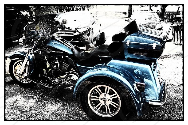 Harley Davison bike blue photo