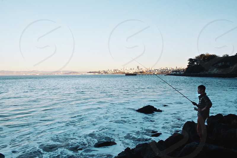 Fishing sunset San Francisco  photo