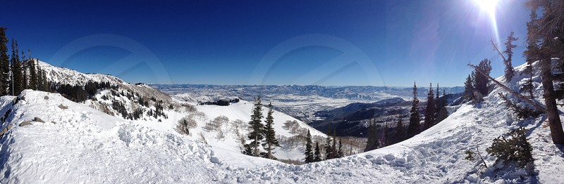 Panorama of Brighton Ski Resort from the top of back mountain  photo