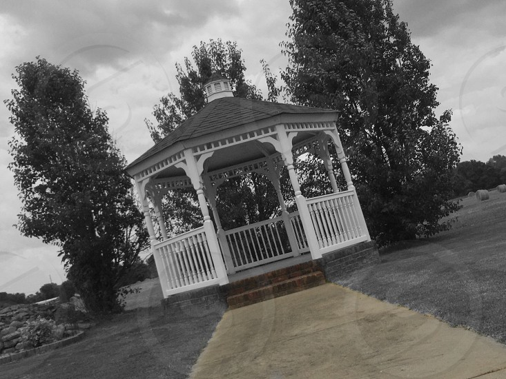 Black and white gazebo path  photo