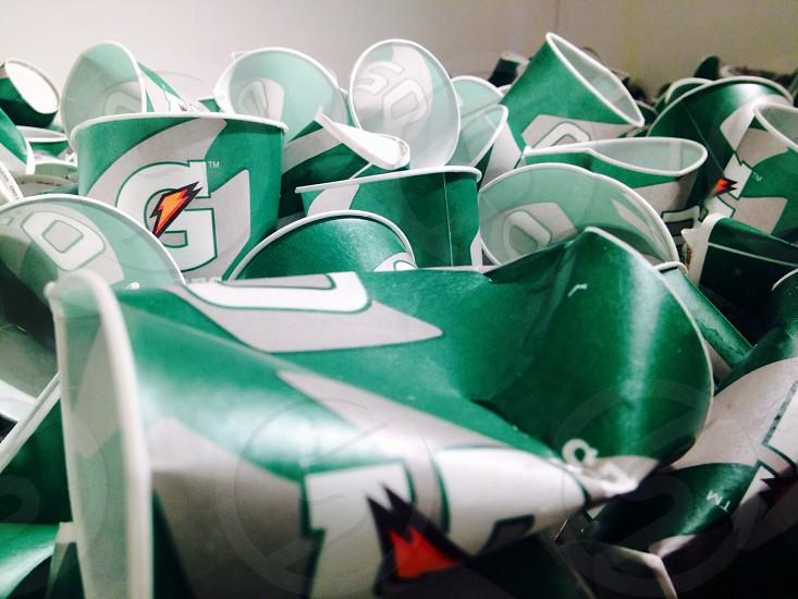 green and white gatorade plastic cups photo