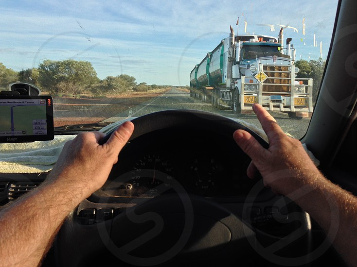 Truck car travel road cloud Sky bush outback trip journey holiday highway escape greeting howdy hello welcome driving drive driver dashboard dash navigator navigated road train rig transport cartage goods photo