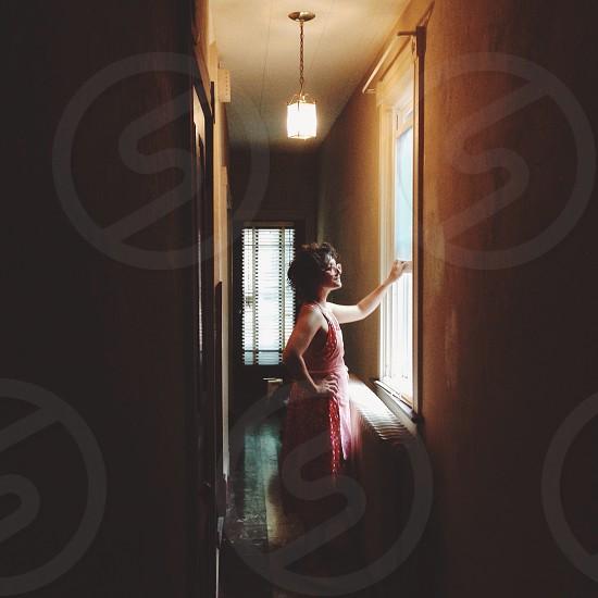women's red dress photo