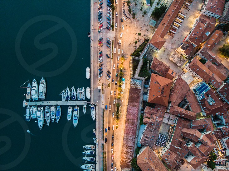 Aerial view to the boats at port photo