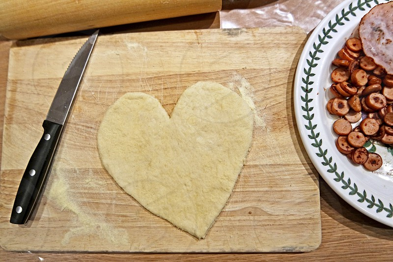 Heart shaped pizza dough #pizza #heart #love #valentines #meal  photo