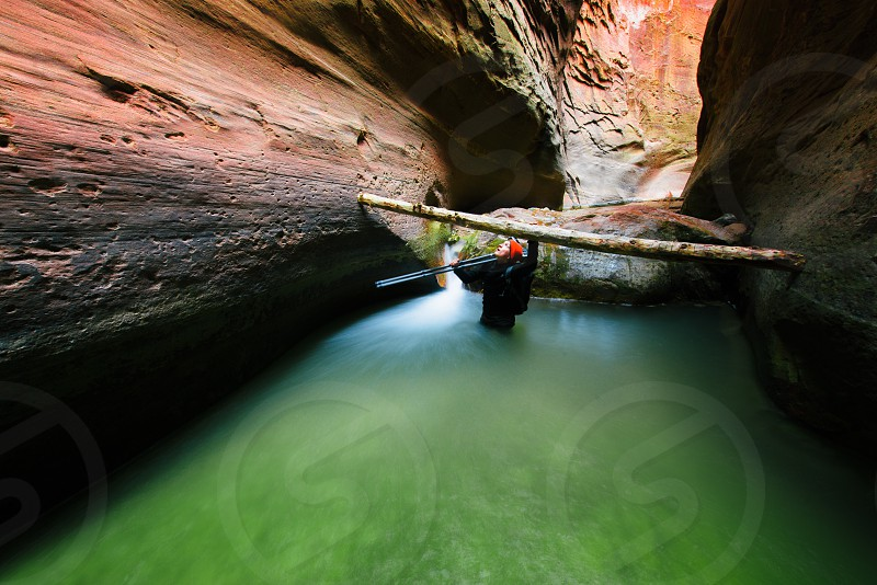 inside green water cave photo