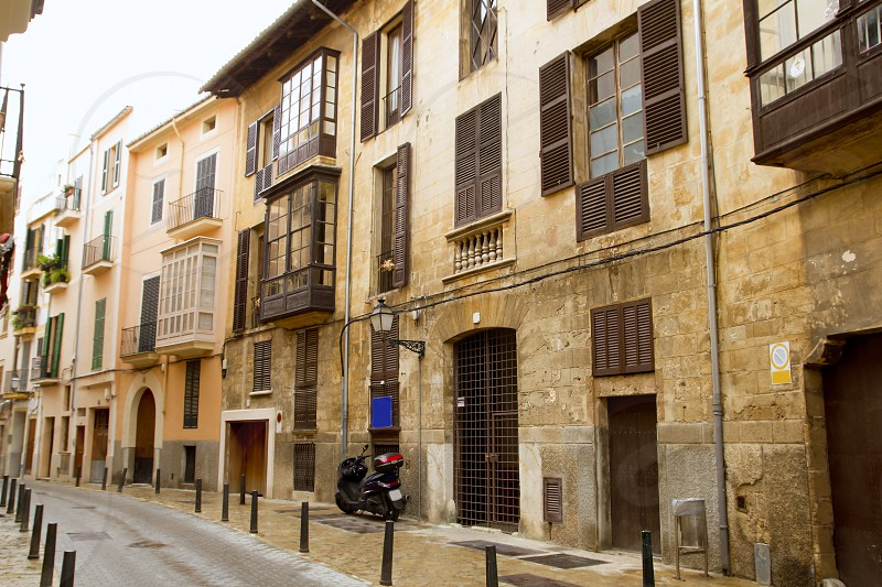 Palma de Mallorca old city Barrio Calatrava street in Balearic islands photo