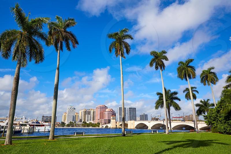Palm Beach skyline royal Park bridge in Florida USA photo