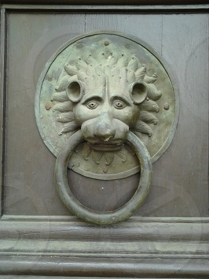 Door knocker on the cathedral in Mainz Germany. photo