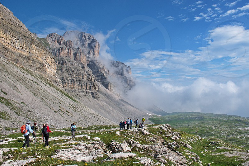 Scenic landscape of Dolomites mountains in Italy. Brenta Dolomites and it's rocky environment. Hiking in Dolomites photo