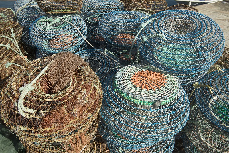 fishing net on the coast in the city centre of Porto in Porugal in Europe. photo