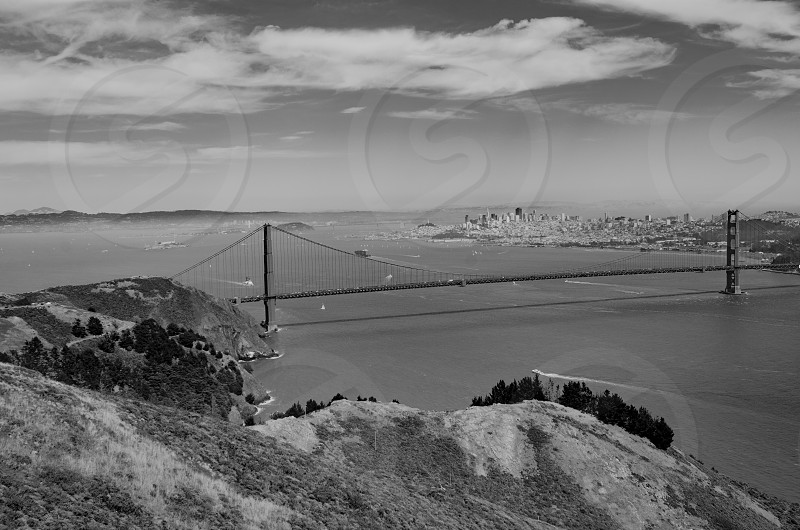 Golden Gate Bridge San Francisco bridge water view hills city  photo