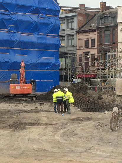 Workers new project Rive gauche Charleroi city photo