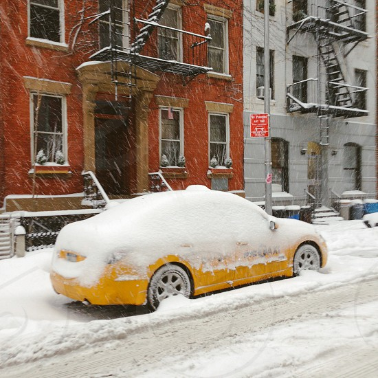 Winter in New York- yellow cab photo