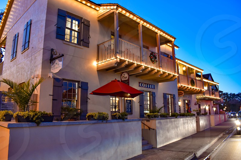 St. Augustine Florida. January 26  2019 . Illuminated Coffee Bar in front of Matanzas Bay at Old Town in Florida's Historic Coast . photo