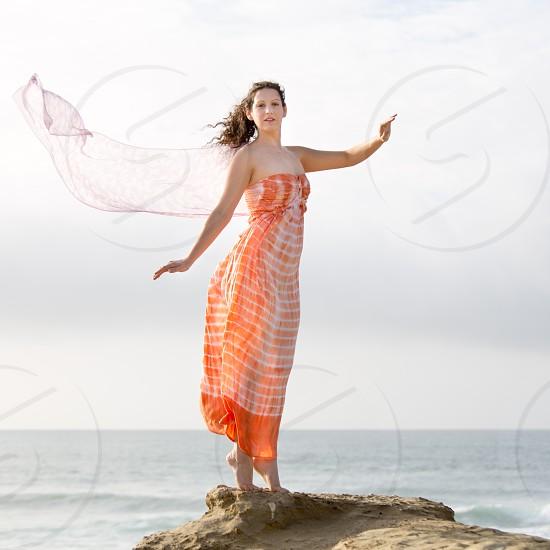 ocean orange veil wind model beach photo