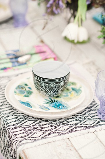 Vintage wedding china photo