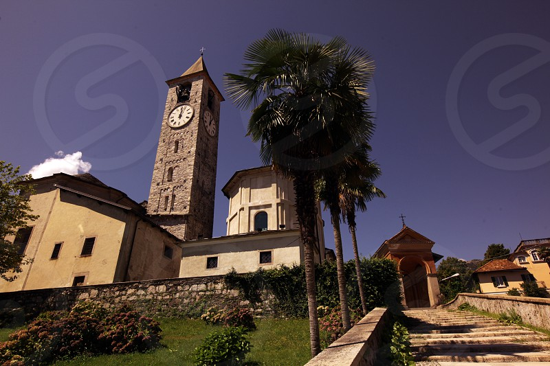 the Church in the old town of Baveno on the Lago maggiore in the Lombardia  in north Italy.  photo