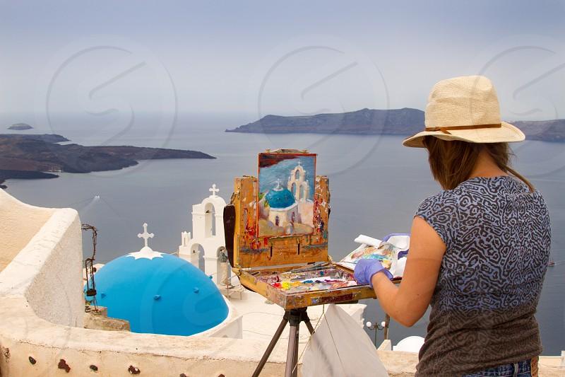 painter plein-air painter santorini hobby greece paint artist photo