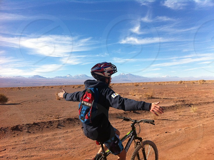 person riding a mountain bike photo