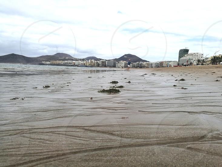 Las Canteras beach at Las Palmas with sea Gran Canadian island photo