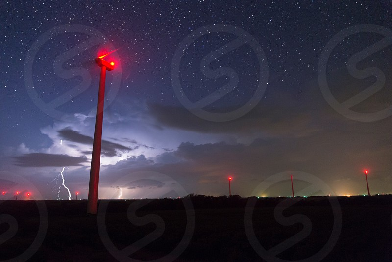 Kansas lightning wind turbine supercell weather severe astrophotography stars photo