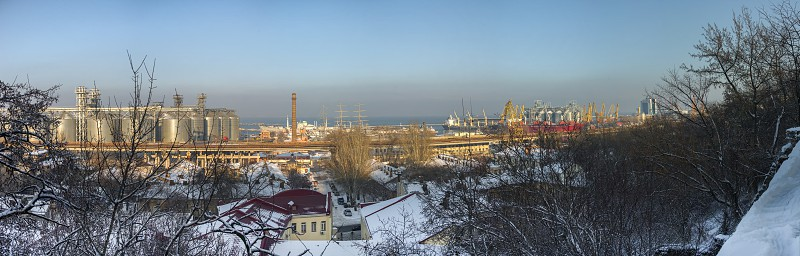 Odessa Ukraine - 01.19.2018. Winter morning on Primorsky Boulevard in Odessa Ukraine. Panoramic view photo