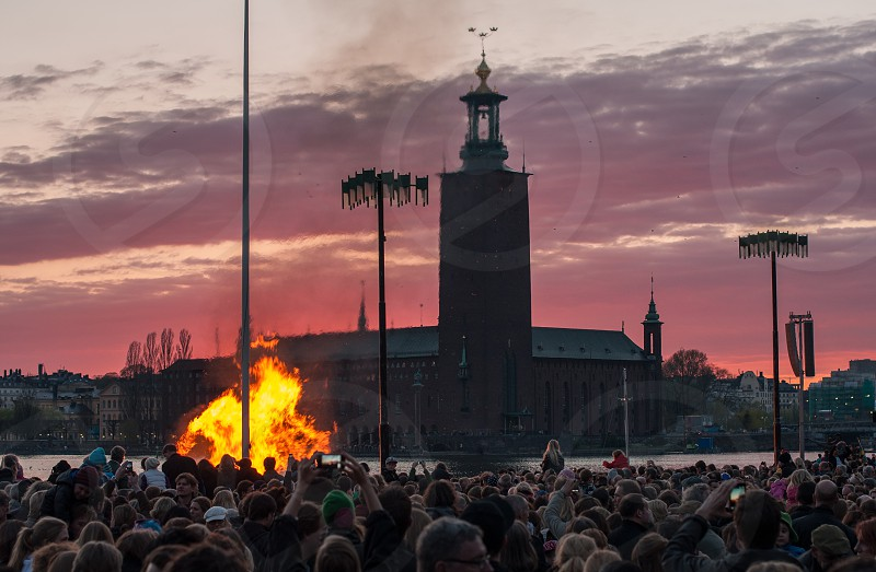 Valborg / Valpuris celebrations in Stockholm Sweden. photo