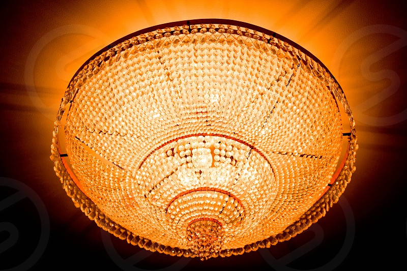 light lights chandelier gold golden crystal crystals photo